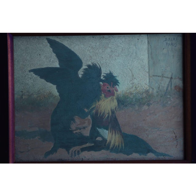 Oil Paint Set of Four William Baird Barbizon Paintings of Cocks Fighting For Sale - Image 7 of 10