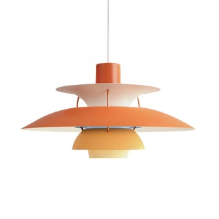 Poul Henningsen Ph 5 Pendant for Louis Poulsen in Orange For Sale