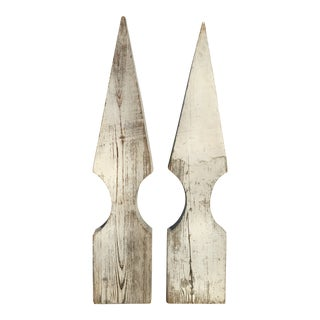 Late 19th Century Wood Flat Finials - a Pair For Sale