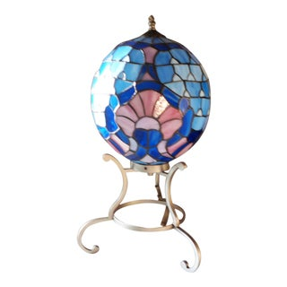 Stained Glass Orb Table Lamp For Sale