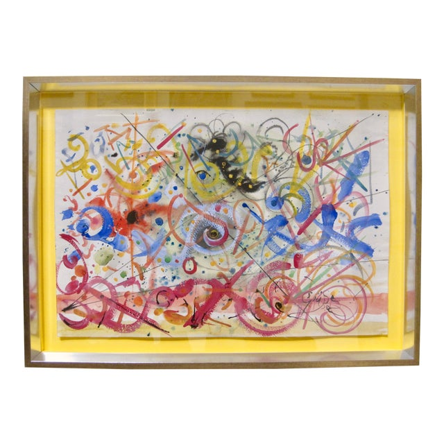 1970s Vintage Hendrick Grise Lyrical Abstract Expressionist Mixed Media Painting For Sale