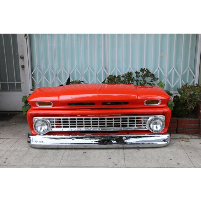 Vintage 1963 Chevrolet short pick up truck front bumper in mint condition. Paint job has been redone. Front lights are...