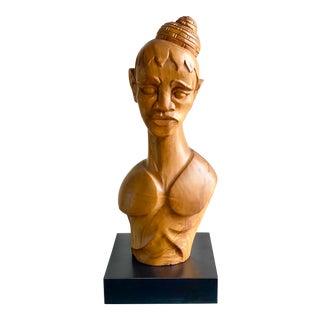 Vintage Hand Carved Female Bust For Sale