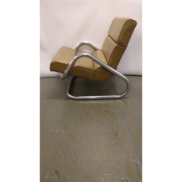 Mid-Century Chrome and Leather Lounge Chair - Image 2 of 4