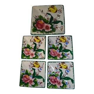 Italian Hand Painted Square Luncheon & Serving Plates - Set of 5 For Sale