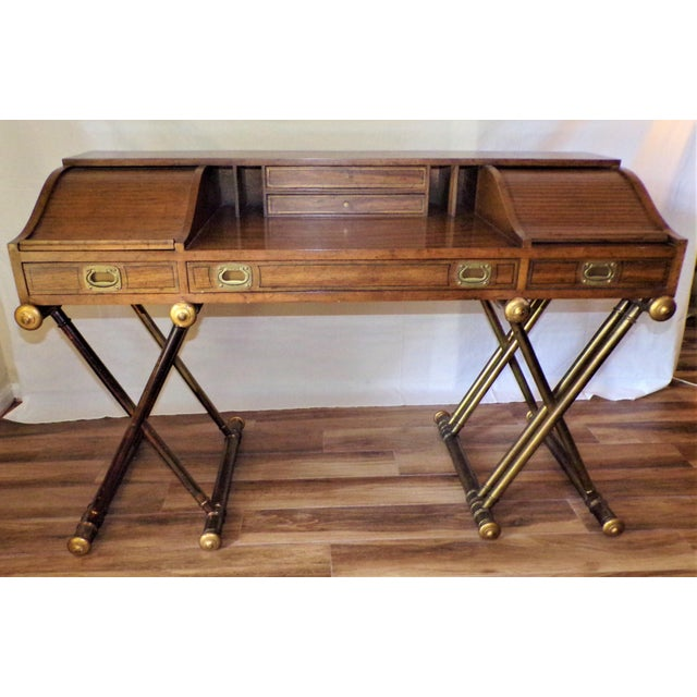 Campaign Oxford Square by Drexel Faux Brass Leg Campaign Style Tambour Roll Top Desk For Sale - Image 3 of 13