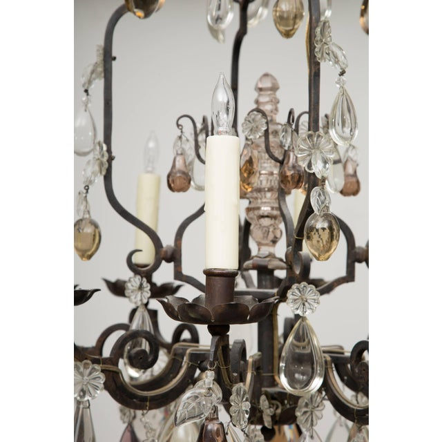 Metal French Eight-Light Chandelier With Multi-Form Pendants For Sale - Image 7 of 8
