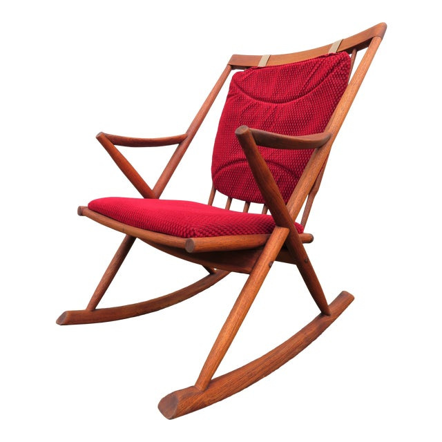 Mid Century Modern Teak Rocker Lounge Chair For Sale