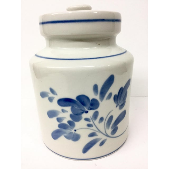 1980s Mediterranean Blue and White Cookie Jar For Sale - Image 4 of 13