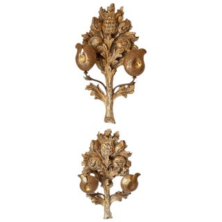 Italian Hand Carved Gilt Wood Sconces - a Pair For Sale