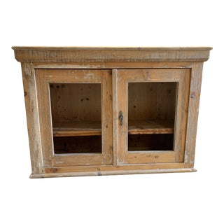 Antique Rustic Country 2 Door Pine Cabinet With Shelves For Sale