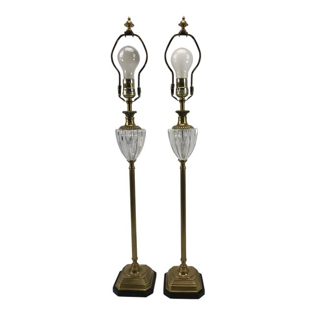 Frederick Cooper Brass & Lucite Buffet Lamps - A Pair - Image 1 of 10