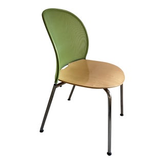 Post Modern Hindermann Orta Side or Dining Chair in Maple and Chrome For Sale