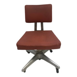 Vintage Industrial Orange Swivel Office Chair by Goodform For Sale