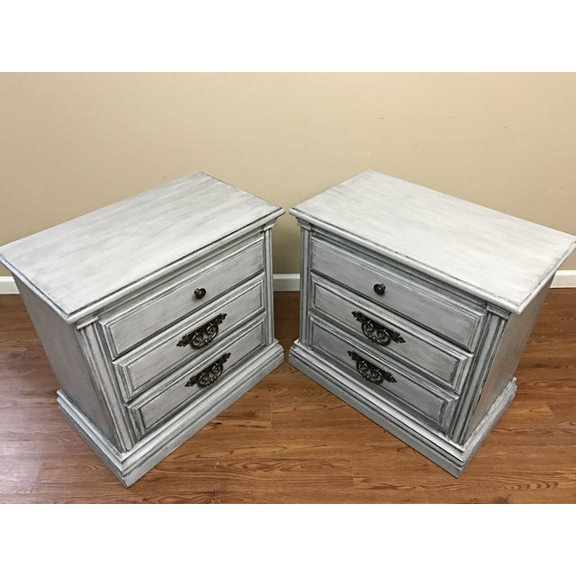 Gorgeous pair of tables, hand-painted in a soft light gray, glazed and sealed with clear wax for lasting protection. All...