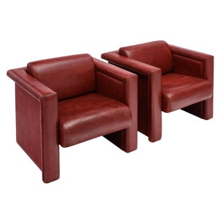 Pair of Red Leather Knoll Armchairs For Sale
