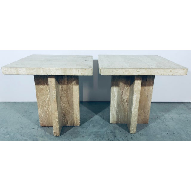 1970s Italian Travertine Side Tables - a Pair For Sale - Image 13 of 13