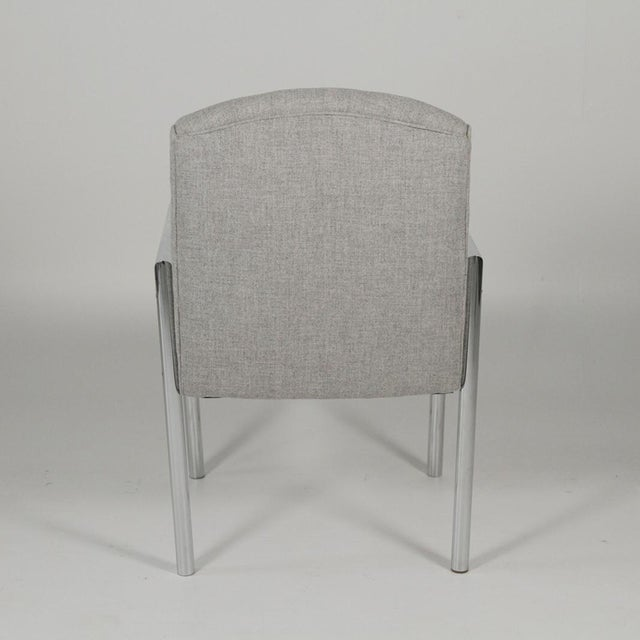 Mid-Century Modern 1970s Mid-Century Modern Grey Linen Chrome Tube Armchairs - a Pair For Sale - Image 3 of 10