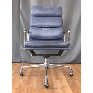 Eames for Herman Miller Periwinkle Leather Soft Pad Executive Chair, 1985 Preview