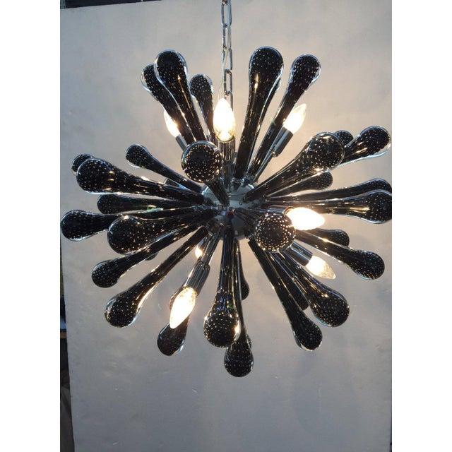 Murano Glass Triedo Sputnik Chandelier 40 drops murano glass black metal frame black nikel used like new diameter 65 cm =...