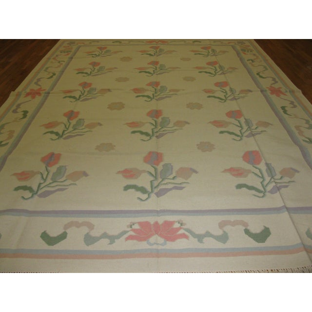 Large New Hand Woven Indian Dhurrie Rug - 10' x 14' - Image 2 of 5