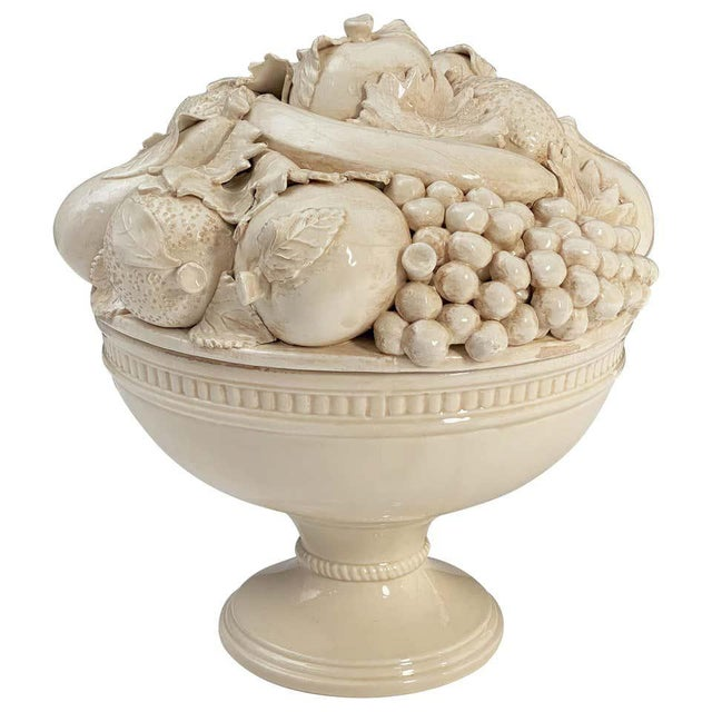 Italian Creamware Tureen or Bowl on Pedestal With Mixed Fruit Topiary Top For Sale - Image 13 of 13