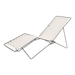 Modern Patio Chaise Lounge With Canvas Cover and Wire Frame For Sale