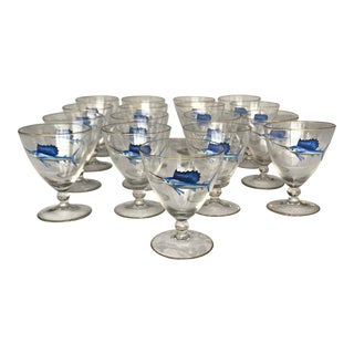 Early 20th Century Bohemian Crystal and Enamel Swordfish Cocktail Gasses - Set of 17 For Sale