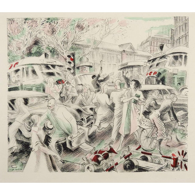 Lithograph of Paris Traffic Scene 1950's by Jean Chieze For Sale - Image 4 of 4
