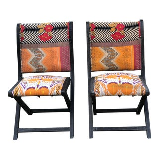 Anthropologie Ikat Terai Folding Chairs - a Pair For Sale