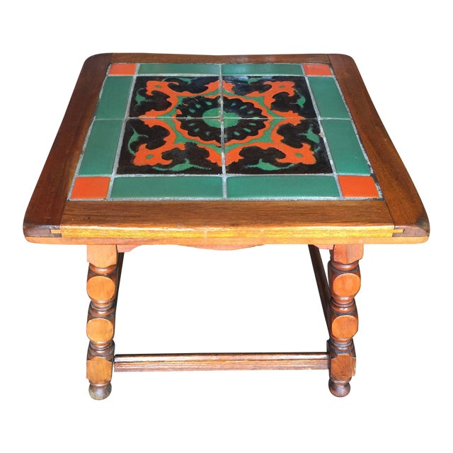 Calfornia Catalina Tile Top Table Mission For Sale