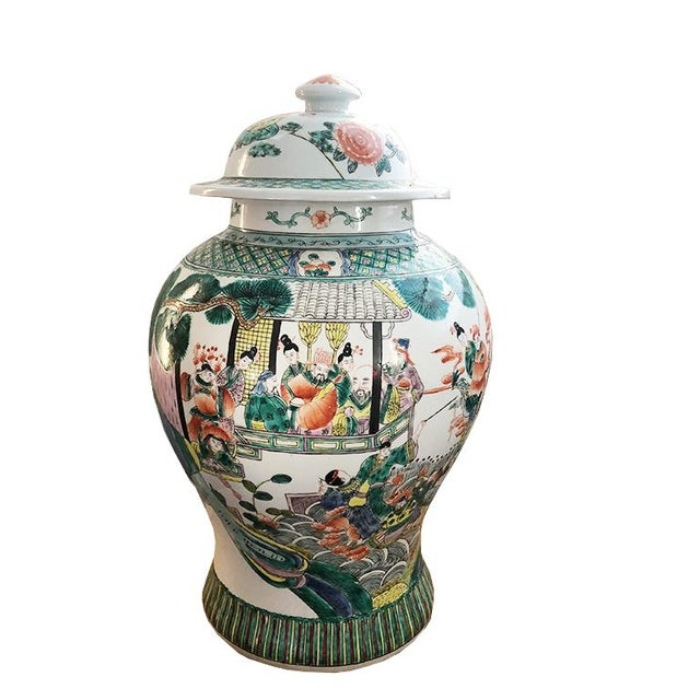 Ceramic 17th Century Chinese Famille Verte Rose Pink & Green Ginger Jar For Sale - Image 7 of 7