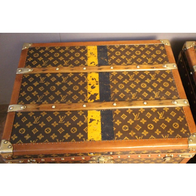 Animal Skin Pair of Louis Vuitton Monogram Steamer Trunks, Malles Louis Vuitton For Sale - Image 7 of 13