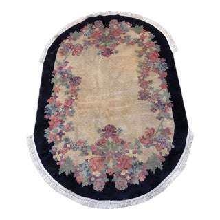 Antique Oval Art Deco Chinese Rug - 5' X 8' For Sale