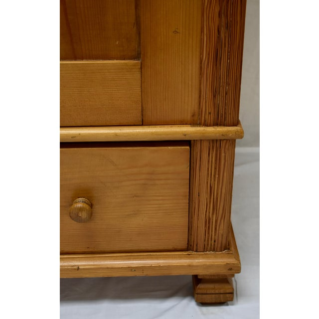 Pine Two Door Armoire With Art Glass Panels For Sale - Image 9 of 13
