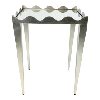 Worlds Away Sylvia Silver Leaf Finished Side Table For Sale
