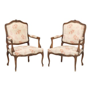 Antique French Louis XV Style Arm Chairs - a Pair For Sale