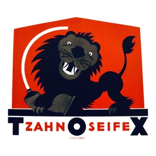 1923 Austrian Art Deco Poster, Tzahn O Seifex (Lion With Toothpaste) For Sale