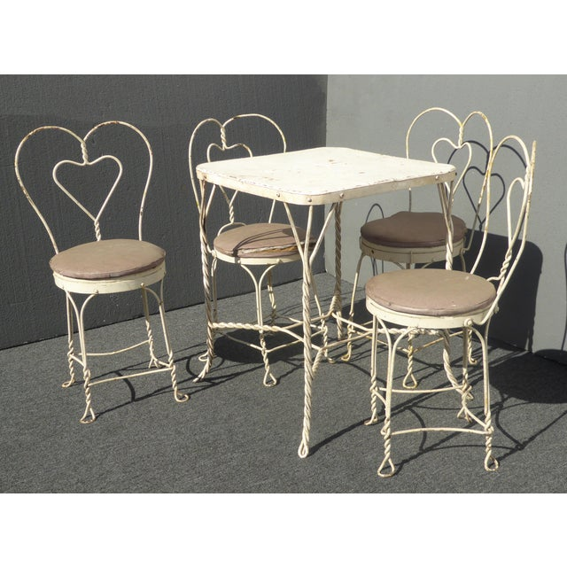 Vintage Ice Cream Parlor Industrial White Table & 4 Heart Shaped Metal Chair Set For Sale - Image 12 of 12