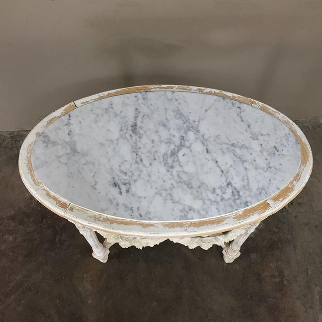Carrara Marble 19th Century French Louis XVI Marble Top Table For Sale - Image 7 of 13