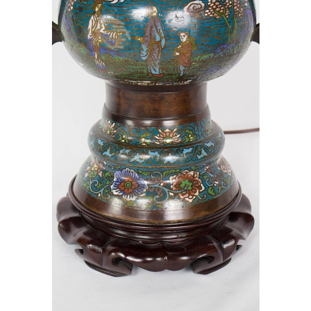 Restored Antique Champleve Table Lamp For Sale - Image 9 of 11