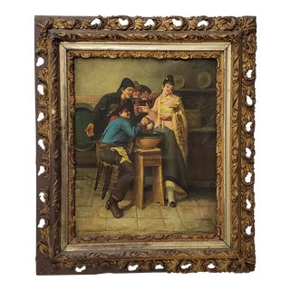 Oil on Canvas of a 19th Century Pub Scene in Antique Frame For Sale