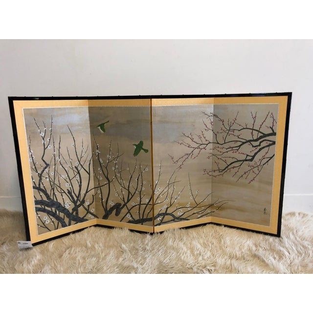 Paint Chinese Painted Silk Cherry Blossom Screen For Sale - Image 7 of 10