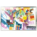 Image of 1970s Vintage Abstract Acrylic on Canvas Painting For Sale