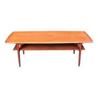 1950s Dansh Modern Povl Dinesen Teak Coffee Table With Shelf For Sale