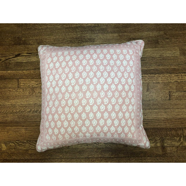 Beautiful down filled self welt with hand sewn border, fabric on front and back 23x23 pillow using Interior Designer...