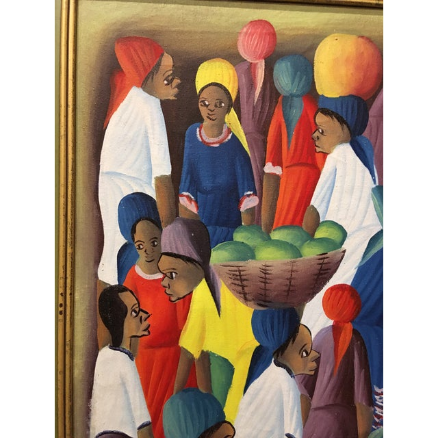 Red Oil on Canvas Painting of a Haitian Market by Andre Guervil For Sale - Image 8 of 10