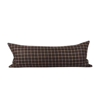 "Dark Brown Check Wool Pillow 13"" x 34"""