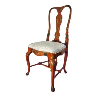 19th Century English Queen Anne Style Chinoiserie Scarlett Lacquer Side Chair For Sale