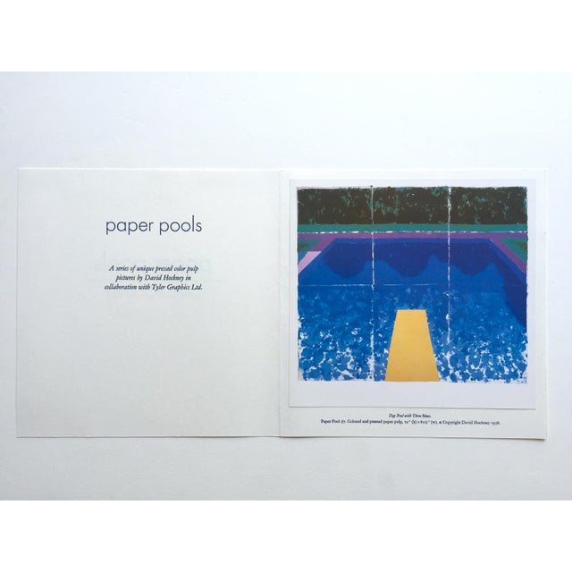 """Contemporary David Hockney Vintage 1978 Rare Tyler Graphics Iconic Lithograph Print """" Day Pool With Three Blues ( Paper Pool #7 ) """" For Sale - Image 3 of 13"""